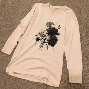Vintage small rose long sleeved cotton tee